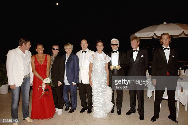 In this handout photo from SBM singer Simon Le Bon of Duran Duran Princess Stephanie of Monaco musicians Andy Taylor and Nick Rhodes of Duran Duran...