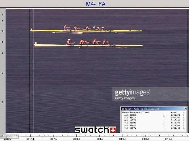 In this handout photo from Swatch Matthew Pinsent Ed Coode James Cracknell and Steve Williams of Great Britain cross the line to claim gold from the...