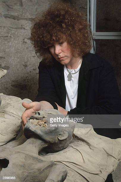 In this handout photo from the Discovery Channel Egyptologist Dr Joann Fletcher studies the mummy believed to be Nefertiti in a side chamber of royal...