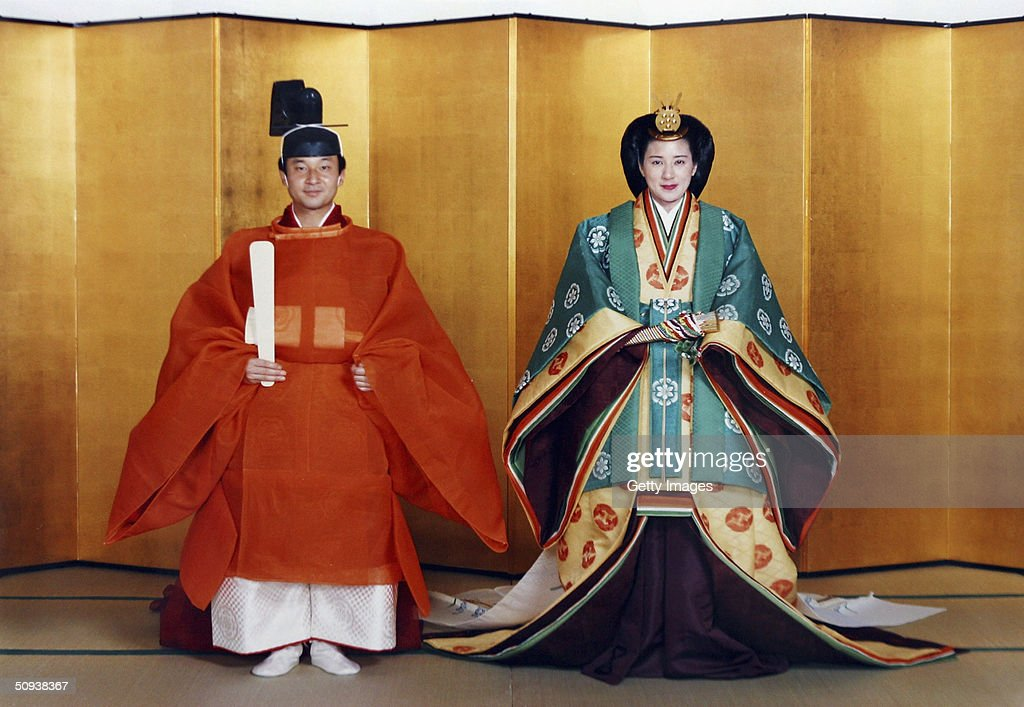In this handout photo from the Imperial Household Agency, Crown Prince Naruhito of Japan and his future wife Masako Owada pose for photographs in traditional Japanese costume prior to their wedding June 2, 1993 in Tokyo. Crown Prince Naruhito and Crown Princess Masako will mark their 11th wedding anniversary on June 9, 2004.
