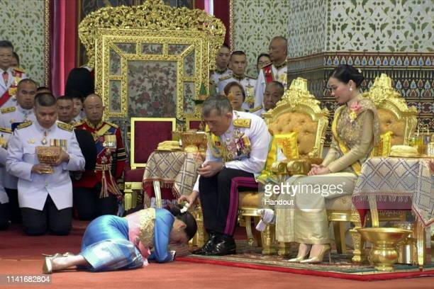 In this handout photo from the Public Relations for the Coronation of King Rama X showing Thai King Maha Vajiralongkorn during the coronation...