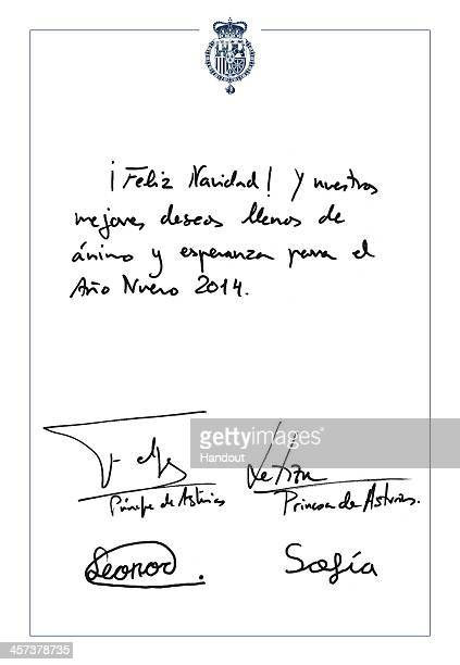 In this handout photo from the Spanish Royal Household a detail of the 2013 Christmas card is provided featuring a festive and seasonal message above...