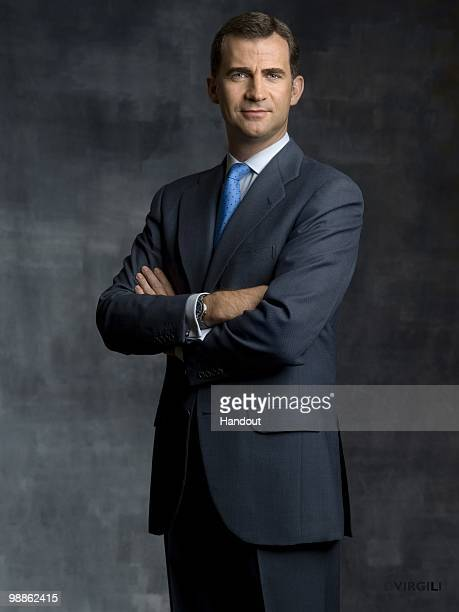 In this handout photo from the Spanish Royal Household Prince Felipe of Spain poses for an official portrait session at Zarzuela Palace on May 5 2010...