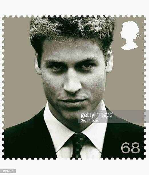 In this handout photo HRH Prince William is pictured on a commemorative stamp in honour of his 21st birthday It is the first time a royal birthday is...