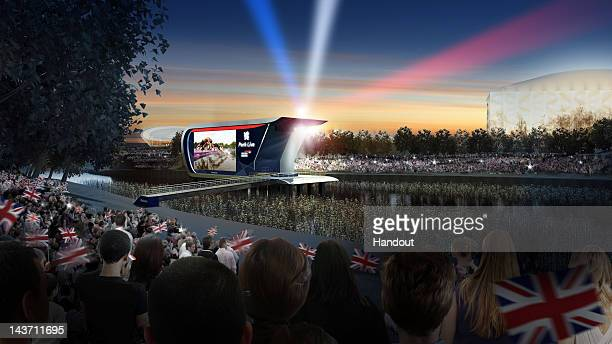 In this handout photo illustration provided by LOCOG, an artist impression depicts scenes of the crowd cheering in the evening at 'Park Live'...