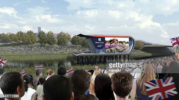 In this handout photo illustration provided by LOCOG, an artist impression depicts scenes of the crowd cheering at 'Park Live' presented by British...