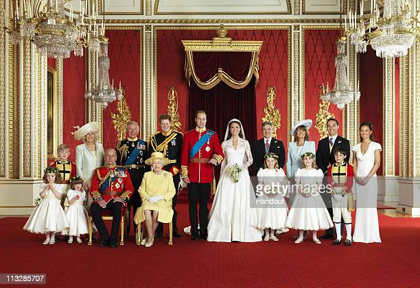 In this handout photo, issued by St James's Palace, the bride and groom Prince William, Duke of Cambridge and Catherine, Duchess of Cambridge pose for an official photo with (left to right): Miss Grace van Cutsem, Miss Eliza Lopes, HRH The Duke of Edinburgh, HM The Queen, The Hon. Margarita Armstrong-Jones, Lady Louise Windsor, Master William Lowther-Pinkerton. Back Row (left to right): Master Tom Pettifer, HRH Camilla, Duchess of Cornwall, Prince Charles, Prince of Wales, HRH Prince Harry of Wales, Mr Michael Middleton, Mrs Carole Middleton, Mr James Middleton, Miss Philippa Middleton, in the throne room at Buckingham Palace on April 29, 2011in London, England. The marriage of Prince William and Catherine Middleton was led by the Archbishop of Canterbury and was attended by 1900 guests, including foreign Royal family members and heads of state. Thousands of well-wishers from around the world have also flocked to London to witness the spectacle and pageantry of the Royal Wedding.