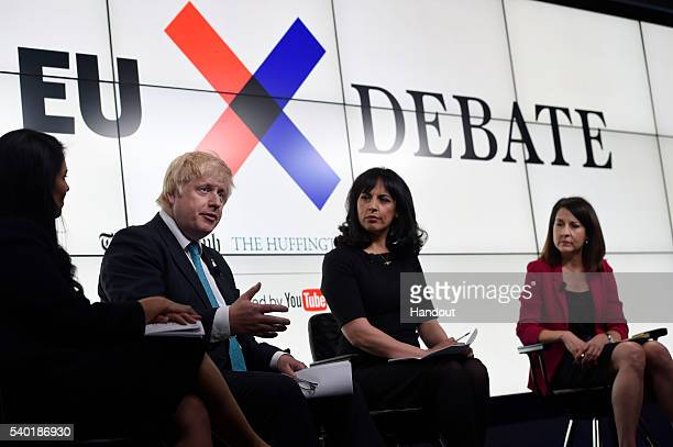 In this handout photo issued by the Daily Telegraph Priti Patel Boris Johnson host Aasmah Mir and Liz Kendall take part in a Huffington Post/Daily...