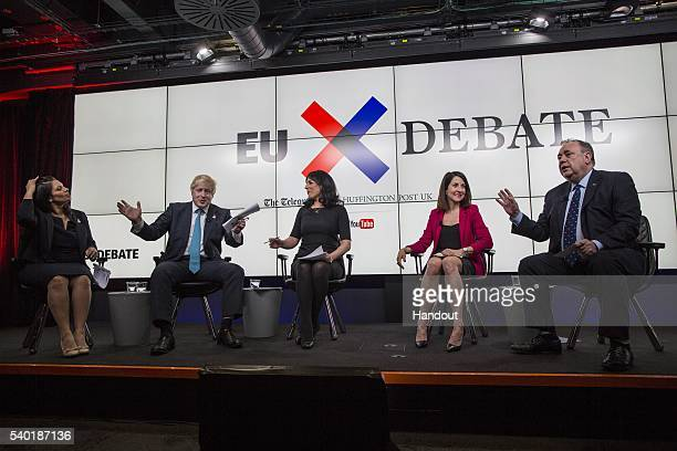 In this handout photo issued by the Daily Telegraph Priti Patel Boris Johnson host Aasmah Mir Liz Kendall and Alex Salmond take part in a Huffington...