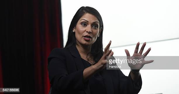 In this handout photo issued by the Daily Telegraph Priti Patel takes part in a Huffington Post/Daily Telegraph EU debate on June 14 2016 in London...