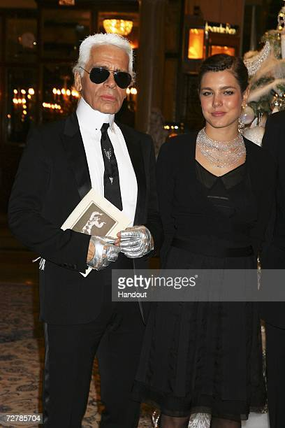 In this handout photo Karl Lagerfeld is seen alongside Charlotte Casiraghi at the Nijinski Awards ceremony on December 7 2006 in Monte Carlo Monaco