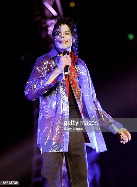 In this handout photo provided by AEG pop star Michael Jackson rehearses for his planned shows in London at the Staples Center on June 23 2009 in Los...