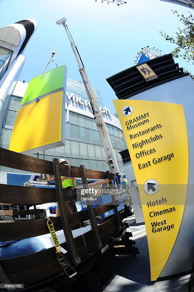 In this handout photo provided by AEG/Microsoft Theater, A general view of the exterior at Microsoft Theater as new signage is installed on June 9, 2015 in Los Angeles, California.