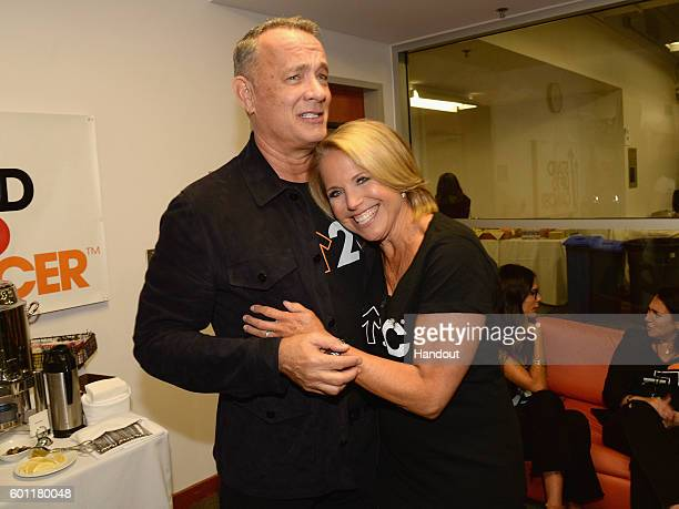 In this handout photo provided by American Broadcasting Companies Inc actor Tom Hanks and Stand Up To Cancer Cofounder Katie Couric attend Stand Up...