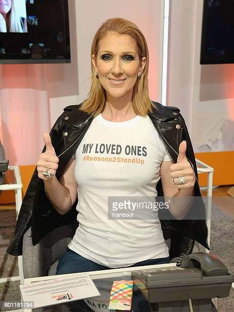 In this handout photo provided by American Broadcasting Companies Inc singer Celine Dion attends Stand Up To Cancer a program of the Entertainment...