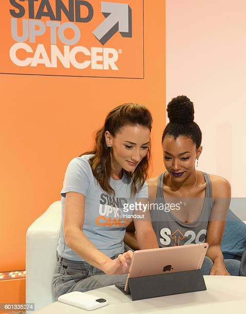 In this handout photo provided by American Broadcasting Companies Inc actresses Bree Turner and Sonequa MartinGreen attend Stand Up To Cancer a...