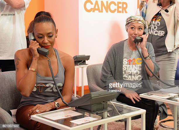 In this handout photo provided by American Broadcasting Companies Inc singer Mel B and actress Shannen Doherty attend Stand Up To Cancer a program of...