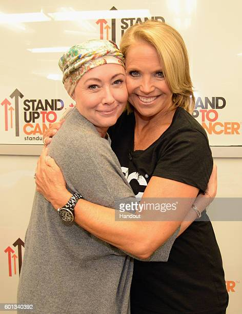 In this handout photo provided by American Broadcasting Companies Inc actress Shannen Doherty and Stand Up To Cancer Cofounder Katie Couric attend...