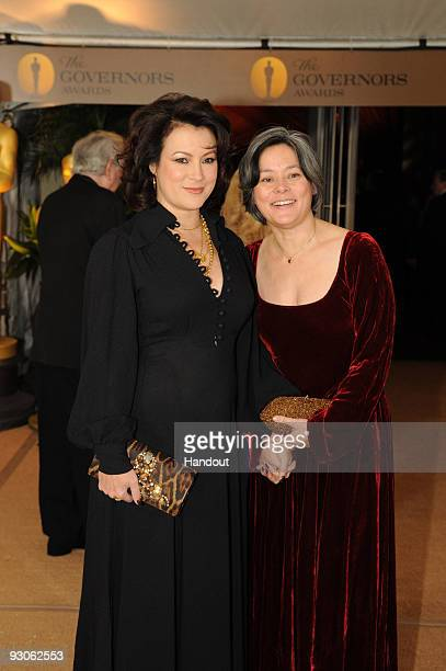 In this handout photo provided by AMPAS actresses Jennifer Tilly and Meg Tilly attend the 2009 Governors Awards in the Grand Ballroom at Hollywood...