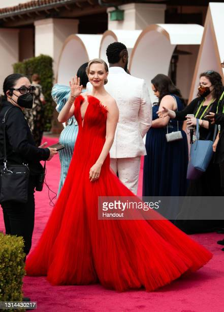 In this handout photo provided by A.M.P.A.S., Amanda Seyfried attends the 93rd Annual Academy Awards at Union Station on April 25, 2021 in Los...