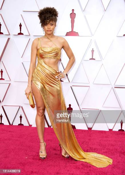 In this handout photo provided by A.M.P.A.S., Andra Day attends the 93rd Annual Academy Awards at Union Station on April 25, 2021 in Los Angeles,...