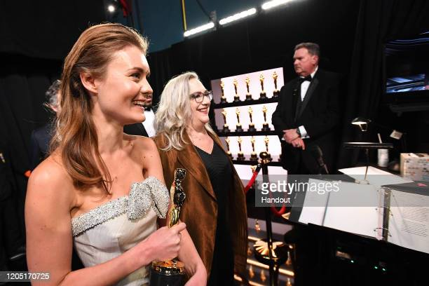In this handout photo provided by AMPAS Best Documentary winners Elena Andreicheva and Carol Dysinger pose backstage during the 92nd Annual Academy...