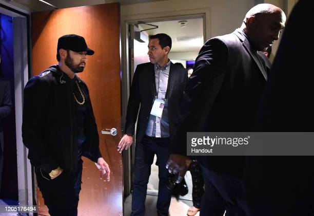 In this handout photo provided by AMPAS Eminem walks backstage during the 92nd Annual Academy Awards at the Dolby Theatre on February 09 2020 in...