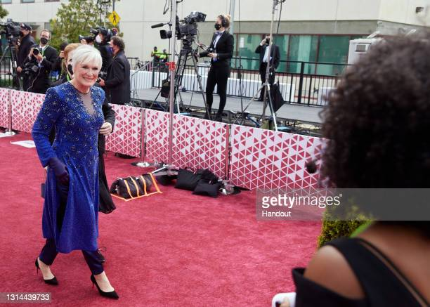 In this handout photo provided by A.M.P.A.S., Glenn Close attends the 93rd Annual Academy Awards at Union Station on April 25, 2021 in Los Angeles,...