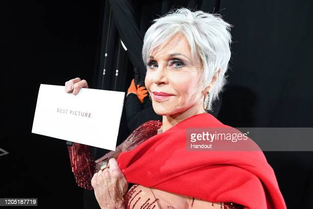 In this handout photo provided by AMPAS Jane Fonda poses with the Best Picture envelope backstage during the 92nd Annual Academy Awards at the Dolby...