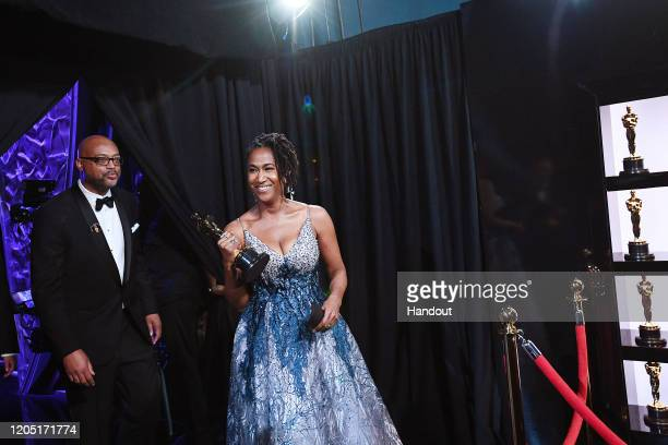 In this handout photo provided by A.M.P.A.S. Karen Rupert Toliver poses backstage with the award for Best Animated Short Film during the 92nd Annual...