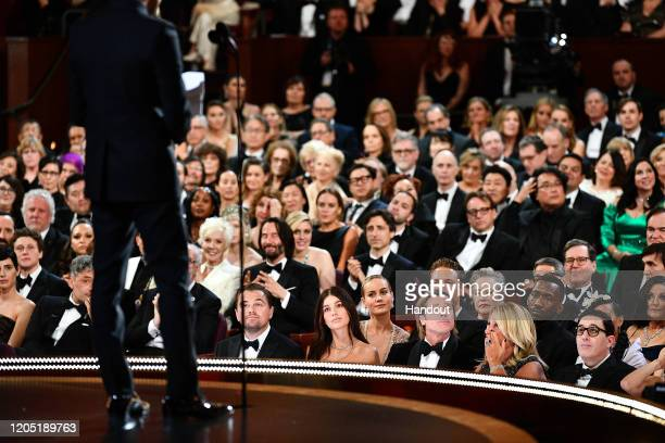 In this handout photo provided by AMPAS Leonardo DiCaprio Brie Larson Brad Pitt Kathy Bates and Mahershala Ali sit in the audience during the 92nd...