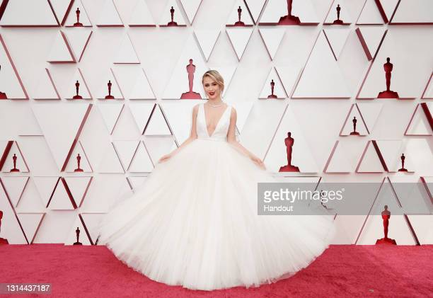 In this handout photo provided by A.M.P.A.S., Maria Bakalova attends the 93rd Annual Academy Awards at Union Station on April 25, 2021 in Los...