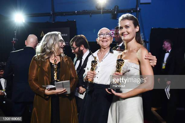 In this handout photo provided by AMPAS Oscar winners Carol Dysinger Jeff Reichert Julia Reichert and Elena Andreicheva pose backstage during the...