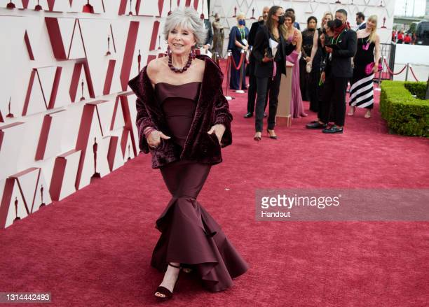 In this handout photo provided by A.M.P.A.S., Rita Moreno attends the 93rd Annual Academy Awards at Union Station on April 25, 2021 in Los Angeles,...