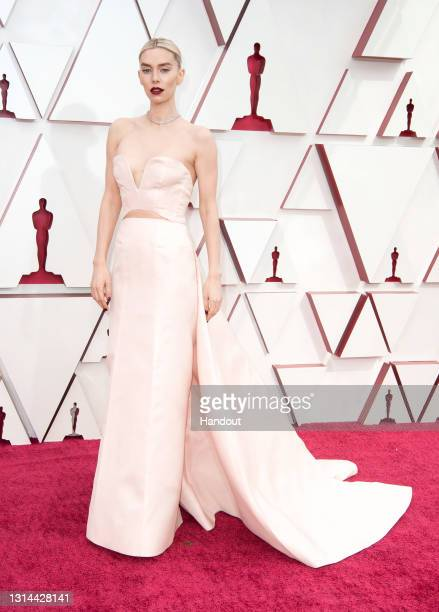 In this handout photo provided by A.M.P.A.S., Vanessa Kirby attends the 93rd Annual Academy Awards at Union Station on April 25, 2021 in Los Angeles,...