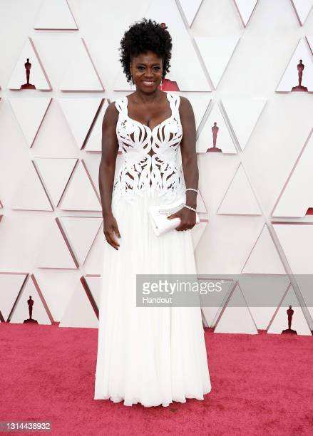 In this handout photo provided by A.M.P.A.S., Viola Davis attends the 93rd Annual Academy Awards at Union Station on April 25, 2021 in Los Angeles,...