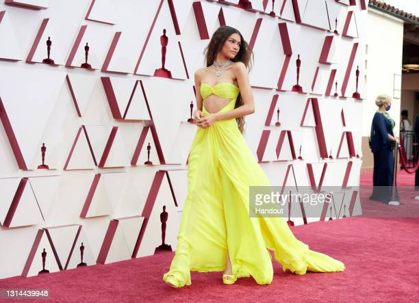 In this handout photo provided by A.M.P.A.S., Zendaya attends the 93rd Annual Academy Awards at Union Station on April 25, 2021 in Los Angeles,...