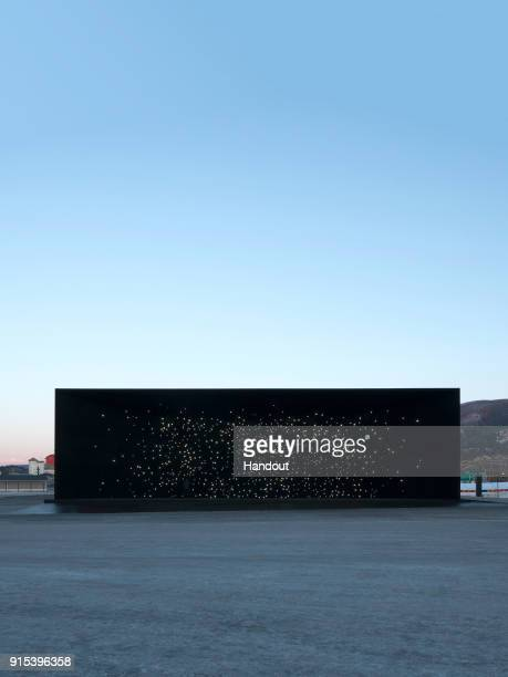 In this handout photo provided by Asif Khan, the Hyundai Pavilion designed by Asif Khan is seen at PyeongChang Winter Olympics 2018 with Vantablack...