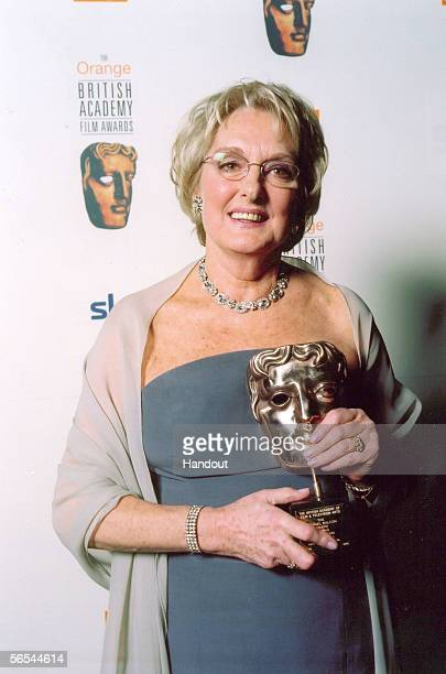 In this handout photo provided by BAFTA casting director Mary Selway poses with her BAFTA trophy at The Odeon in London England An award in her...