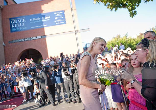 In this handout photo provided by Bendigo Art Gallery Princess Charlene of Monaco arrives at the opening of the Grace Kelly exhibition at Bendigo...
