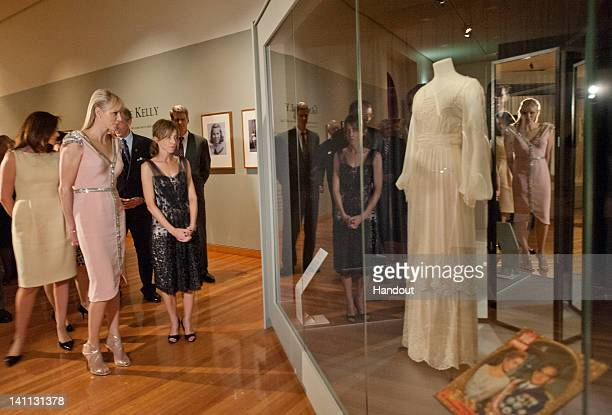 In this handout photo provided by Bendigo Art Gallery Princess Charlene of Monaco attends the opening of the Grace Kelly exhibition at Bendigo Museum...
