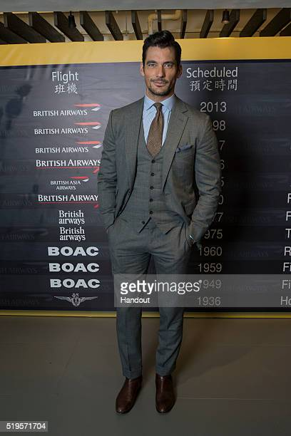 In this handout photo provided by British Airways Supermodel David Gandy attends the airline's VIP gala at Hong Kong's Liang Yi museum to mark the...