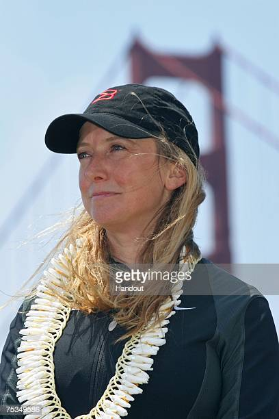 In this handout photo provided by Brocade rower Roz Savage poses near the Golden Gate Bridge during a ceremonial launch while preparing for her bid...
