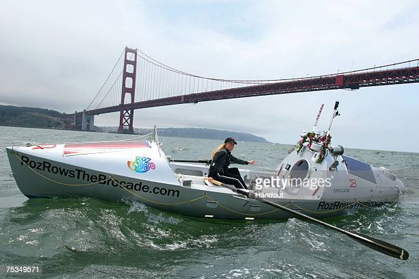 In this handout photo provided by Brocade rower Roz Savage rows her boat The Brocade near the Golden Gate Bridge while preparing for her bid to be...