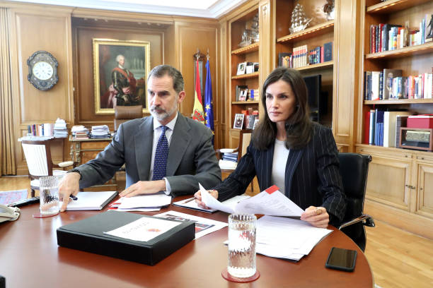 ESP: Spanish Royals Meet Social Entities On Video Conference