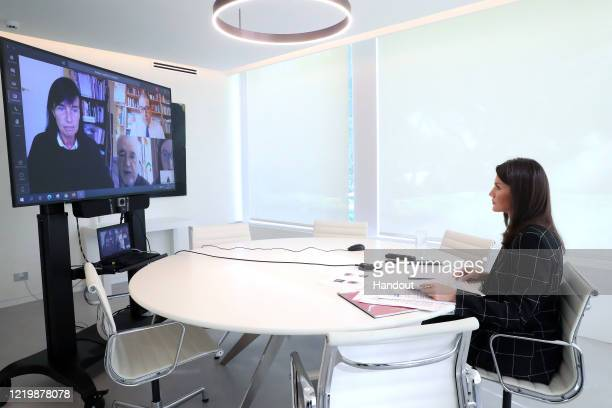 In this handout photo provided by Casa de SM el Rey Spanish Royal Household Queen Letizia of Spain takes part in a video conference with the Down...
