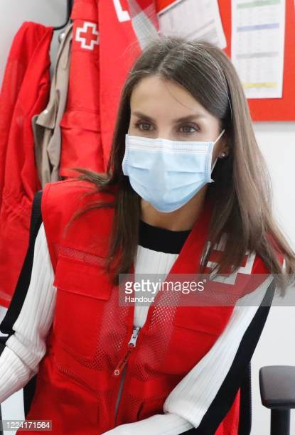 In this handout photo provided by Casa de S.M. El Rey Spanish Royal Household, Queen Letizia of Spain visits a Red Cross office and participates as a...
