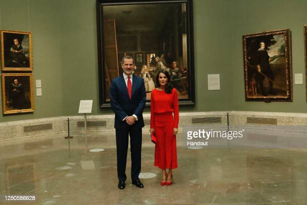 In this handout photo provided by Casa de S.M. El Rey Spanish Royal Household, King Felipe VI of Spain and Queen Letizia of Spain attend the...
