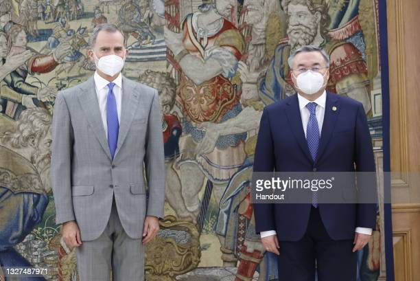 In this handout photo provided by Casa de S.M. El Rey Spanish Royal Household, King Felipe VI of Spain receives Kazakh Foreign Minister Mukhtar...