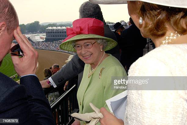 In this handout photo provided by Churchill Downs Queen Elizabeth II attends the 133rd Kentucky Derby on May 5 2007 at Churchill Downs in Louisville...